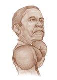 Esboço da caricatura do pugilista de Barack Obama Foto de Stock