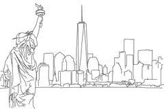 Esboço da carta branca da skyline de New York City Garrancho do vetor ilustração stock