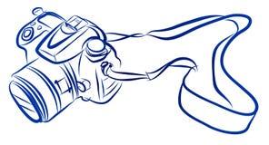 Esboço da carta branca do vetor da câmera de DSLR ilustração stock