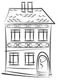 Esboço da casa velha isolado no branco Imagem de Stock