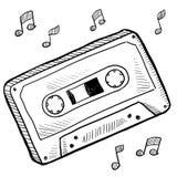 Esboço da cassete de banda magnética ilustração stock
