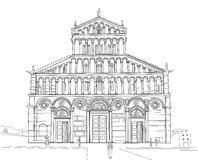 Esboço da catedral de Pisa Foto de Stock