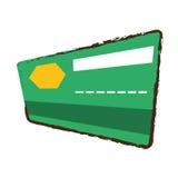 Esboço da cor verde do banco do cartão de crédito ilustração royalty free