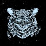 Esboço da coruja em um fundo nightsky Imagens de Stock