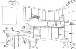 Esboço da cozinha Imagem de Stock