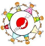 Esboço da criança do relevo de Japão Foto de Stock