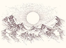 Esboço da elevação de Sun ilustração do vetor