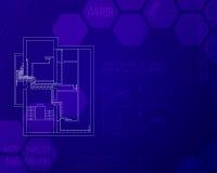 Esboço da engenharia do sistema de aquecimento na casa Conceito da ATAC Desenhos técnicos do esboço azul Imagem de Stock