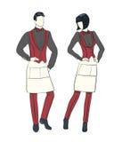 Esboço da forma dos desenhos animados da empregada de mesa e do garçom Fotografia de Stock Royalty Free