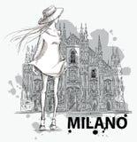 Esboço da forma Menina em um fundo do domo de Milão ilustração stock