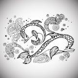 Esboço da garatuja de Dolfin Imagens de Stock