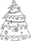 Esboço da mão da árvore de Natal Fotografia de Stock