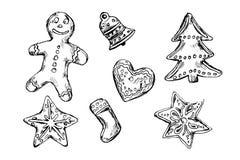Esboço da mão de cookies do Natal Fotografia de Stock Royalty Free