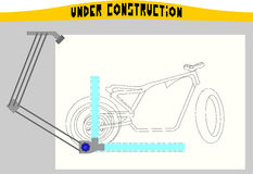 Esboço da mesa de projeto e da motocicleta ilustração do vetor