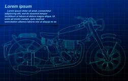 Esboço da motocicleta no fundo do modelo ilustração stock