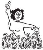 Esboço da mulher e das flores Imagens de Stock