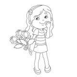 Esboço da página da coloração da menina com o ramalhete das rosas à disposição Imagem de Stock Royalty Free