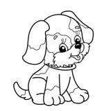 Esboço da página da coloração do cão dos desenhos animados Assento bonito do filhote de cachorro pet Imagem de Stock Royalty Free