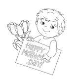 Esboço da página da coloração do menino com o cartão para o dia de mãe Fotografia de Stock Royalty Free