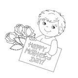 Esboço da página da coloração do menino com o cartão para o dia de mãe Fotos de Stock