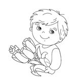 Esboço da página da coloração do menino com o ramalhete das tulipas Fotos de Stock