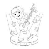 Esboço da página da coloração do menino que joga a guitarra na fase Imagens de Stock Royalty Free