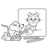 Esboço da página da coloração do rato pequeno dos desenhos animados com os lápis com imagem do gato Livro para colorir para crian Foto de Stock