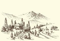 Esboço da paisagem da exploração agrícola e da vila Imagens de Stock
