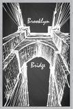 Esboço da ponte de Brooklyn em um quadro-negro BG Imagem de Stock Royalty Free