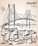 Esboço da ponte de Istambul Bosphorus Turquia Fotos de Stock Royalty Free