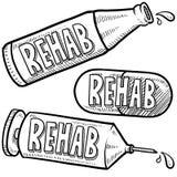 Esboço da reabilitação da droga e de álcool ilustração do vetor