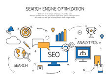 Esboço da tecnologia da otimização do Search Engine ilustração do vetor