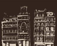 Esboço da tinta das construções Entregue a ilustração tirada das casas na cidade velha europeia Arte finala do curso O a lápis de ilustração royalty free