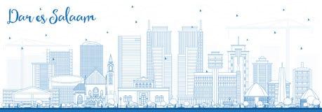 Esboço Dar Es Salaam Tanzania Skyline com construções azuis Fotografia de Stock Royalty Free
