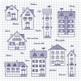 Esboço das casas de alturas diferentes Imagens de Stock Royalty Free