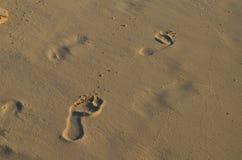 Esboço das pegadas na areia de uma praia Fotografia de Stock
