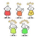Esboço das pessoas pequenas com as estrelas da avaliação Vetor tirado mão dos desenhos animados Imagem de Stock Royalty Free