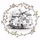 Esboço de Aink da paisagem italiana dentro de uma grinalda dos ramos, isolada no fundo branco ilustração do vetor