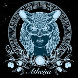 Esboço de Athena isolado em um fundo nightsky preto ilustração stock