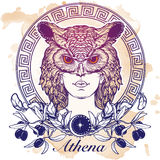 Esboço de Athena isolado no fundo do grunge ilustração royalty free