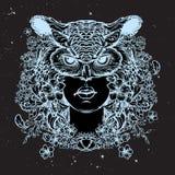 Esboço de Blodeuwedd isolado em um fundo nightsky preto Imagens de Stock Royalty Free