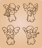 Esboço de Caroling dos anjos ilustração stock