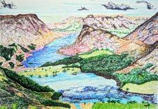 Esboço de Fineliner da água nos lagos, Cumbria de Buttermere e de Crummock, Reino Unido ilustração stock