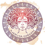 Esboço de Gorgon do Medusa em um fundo do grunge Foto de Stock