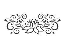 Esboço de Lotus Motivo da planta Elementos do projeto da flor Ilustração do vetor Imagem de Stock Royalty Free