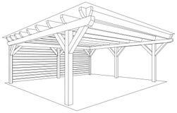 Esboço de madeira da construção Imagens de Stock