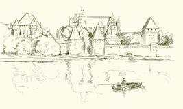 Esboço de Malbork Fotografia de Stock Royalty Free