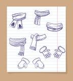 Esboço de mitenes e de scarves do inverno ilustração stock