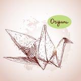Esboço de papel dos guindastes do origâmi linha no fundo bege Tex do Grunge ilustração do vetor