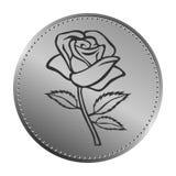 Esboço de Rosa com projeto da moeda elemento da flor Ilustração do vetor Projeto floral elegante do esboço Símbolo cinzento isola Imagens de Stock